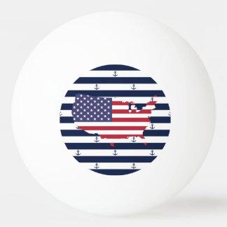 American map flag   nautical stripes pattern ping pong ball