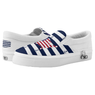 American map flag | nautical stripes pattern printed shoes