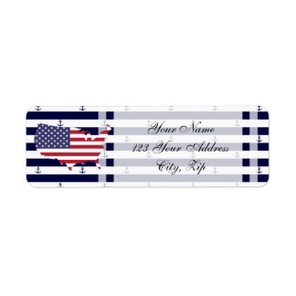 American map flag | nautical stripes pattern return address label
