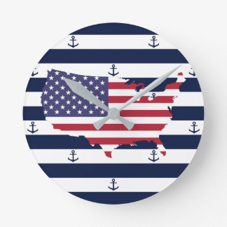 American map flag | nautical stripes pattern round clock