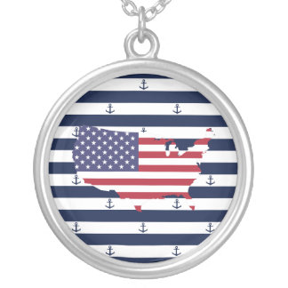 American map flag | nautical stripes pattern silver plated necklace