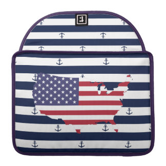 American map flag | nautical stripes pattern sleeve for MacBooks