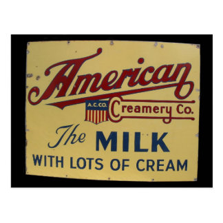 American milk company vintage sign postcard