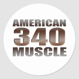 american muscle 340 classic round sticker