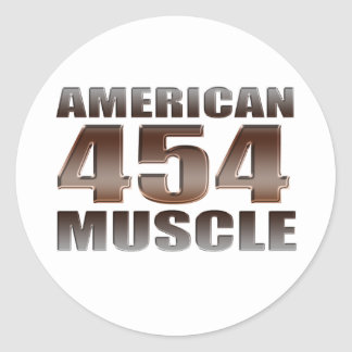 american muscle 454 classic round sticker