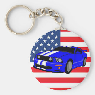 American Muscle Car Basic Round Button Key Ring