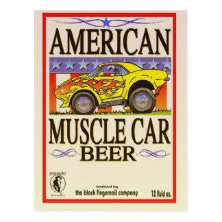 american muscle car beer postcard