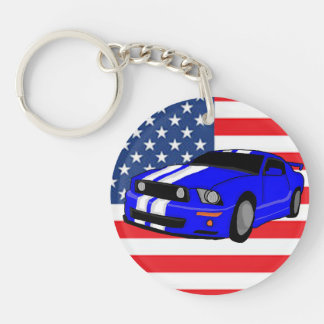 American Muscle Car Double-Sided Round Acrylic Key Ring