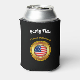 American nation flag with a gold frame can cooler