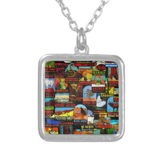 American National Parks Vintage Decal Bomb Silver Plated Necklace