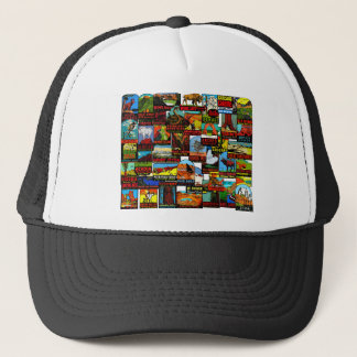 American National Parks Vintage Travel Decal Bomb Trucker Hat