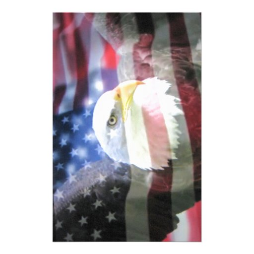 American National Patriotism. The Flag and Eagle. Custom Stationery