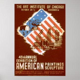 American Paintings Sculpture Vintage Poster