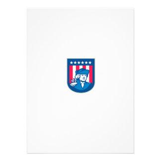 American Patriot Head Bust Shield Retro Personalised Invitations