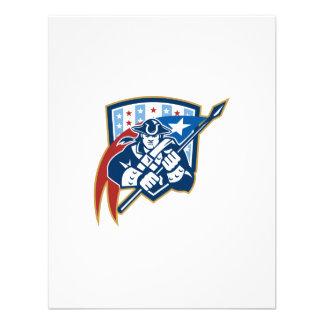 American Patriot Holding Brandish Flag Crest Personalised Invite