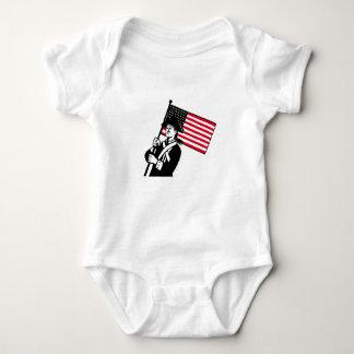American Patriot Holding Flag Retro Baby Bodysuit