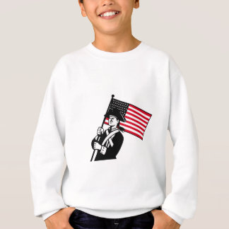 American Patriot Holding Flag Retro Sweatshirt