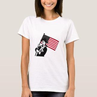 American Patriot Holding Flag Retro T-Shirt