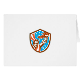 American Patriot Holding Torch Flag Shield Retro Greeting Card