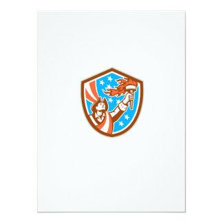 American Patriot Holding Torch Flag Shield Retro 14 Cm X 19 Cm Invitation Card