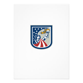 American Patriot Holding Up Torch Flag Shield Custom Invites