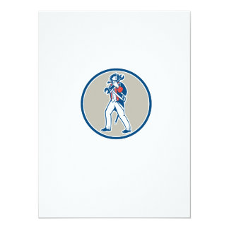 American Patriot Holding Wrench Marching Retro 14 Cm X 19 Cm Invitation Card