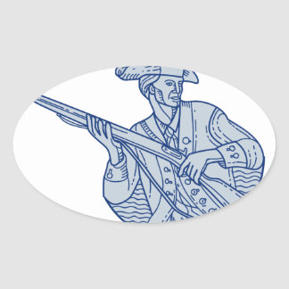 American Patriot Minuteman Rifle Mono Line Oval Sticker