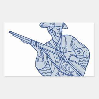 American Patriot Minuteman Rifle Mono Line Rectangular Sticker