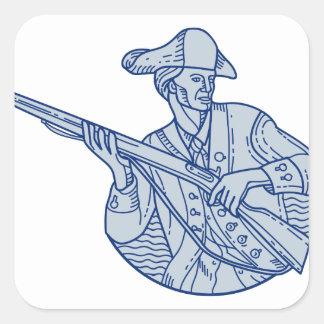 American Patriot Minuteman Rifle Mono Line Square Sticker