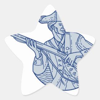American Patriot Minuteman Rifle Mono Line Star Sticker
