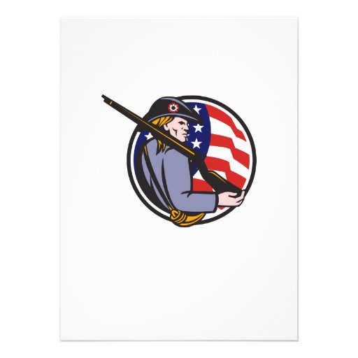 American Patriot Minuteman With Rifle And Flag Custom Announcement