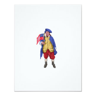 American Patriot Shouting Holding Flag Watercolor Card
