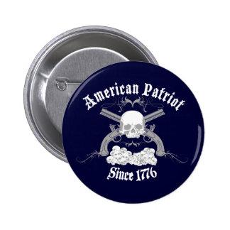 American Patriot Skull 1776 6 Cm Round Badge
