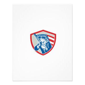 American Patriot Soldier Waving Flag Shield Custom Announcements