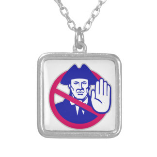 American Patriot Stop Sign Retro Silver Plated Necklace