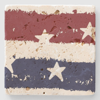 American Patriotic Distressed Stripes Coaster