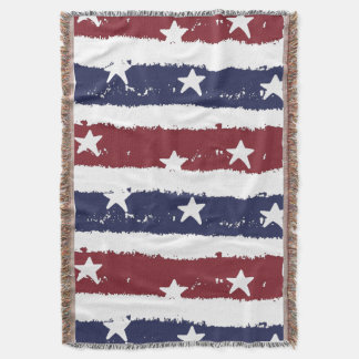 American Patriotic Distressed Stripes Throw