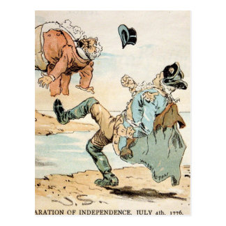 American Patriots kicking out the British Postcard