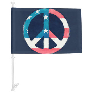 American Peace Sign grunge + your ideas Car Flag