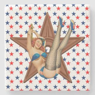 American pinup star stone coaster