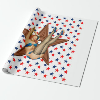 American pinup star wrapping paper