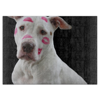american pit bull terrier with kisses cutting board