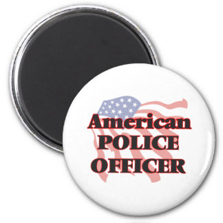 American Police Officer 6 Cm Round Magnet