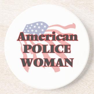 American Police Woman Drink Coaster