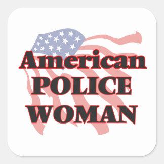 American Police Woman Square Sticker