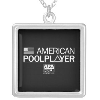 American Pool Player Silver Plated Necklace