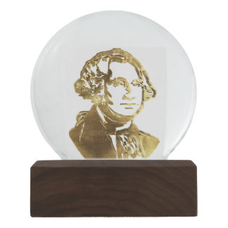 American President George Washington Portrait Gold Snow Globe
