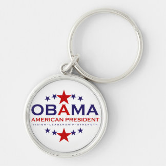 american President Obama Silver-Colored Round Key Ring