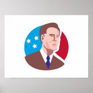 American Presidential Candidate Mitt Romney retro Poster