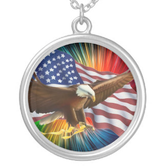AMERICAN PRIDE EAGLE AND FLAG ROUND PENDANT NECKLACE